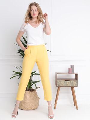 Pantalon78e taille standard jaune femme
