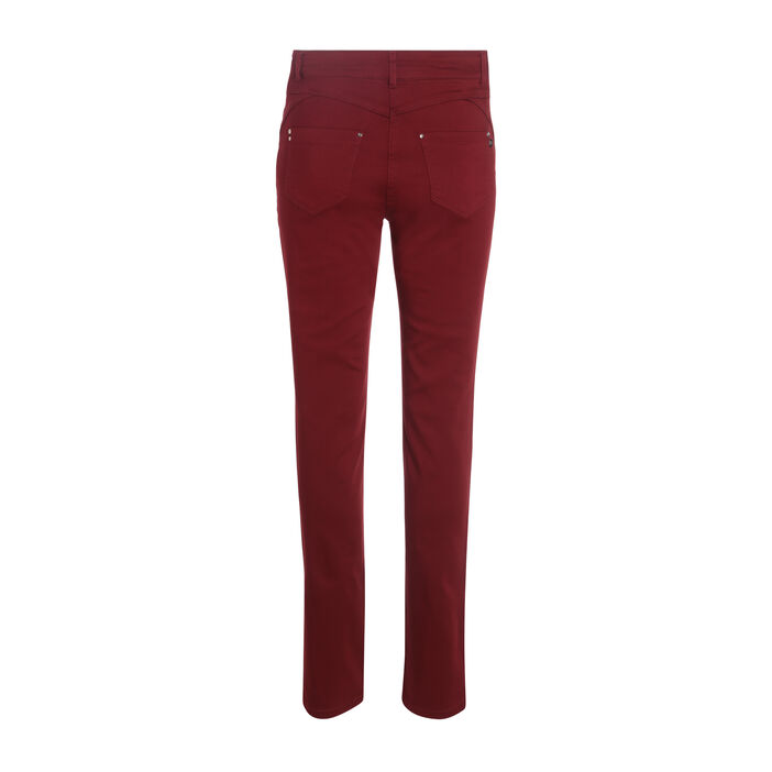 Pantalon taille standard zip poches rouge foncé femme