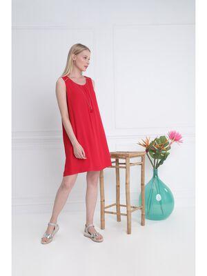 Robe courte detail bijoux rouge femme