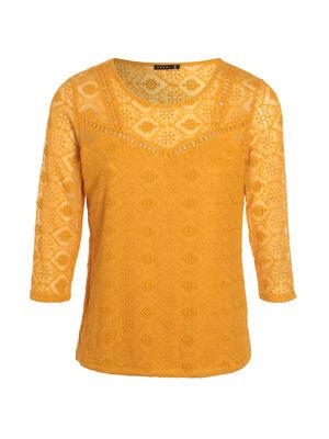 T shirt manches 34 broderie jaune femme