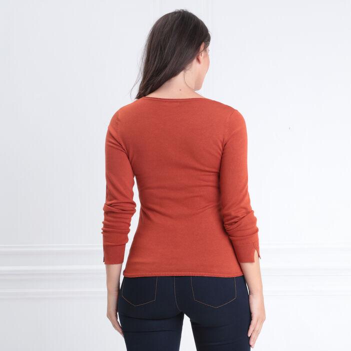Pull manches longues col en V orange foncé femme