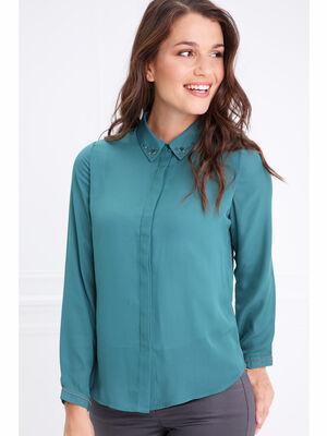 Chemise col francais bijoux vert canard femme