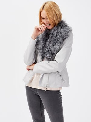 Veste similicuir fourrure amovible gris fonce femme