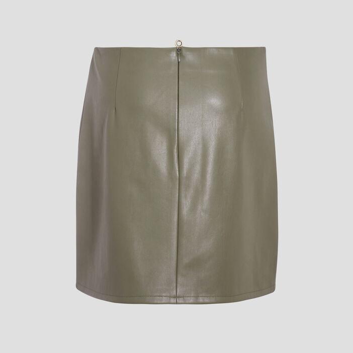 Jupe droite détails zippés vert kaki femme