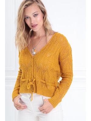 Cardigan manches longues jaune or femme