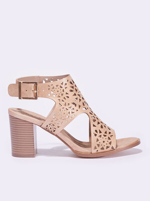 Sandales a talons perforees beige femme