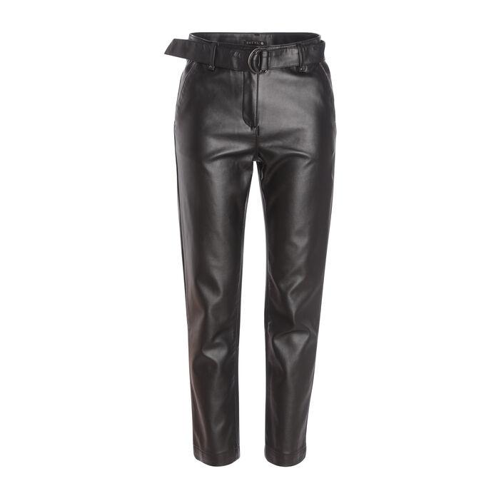 Pantalon chino taille basculée noir femme