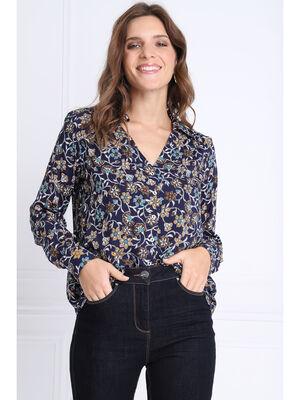 Chemise manches longues bleu marine femme