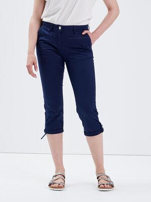 Pantacourt ajuste bleu marine femme