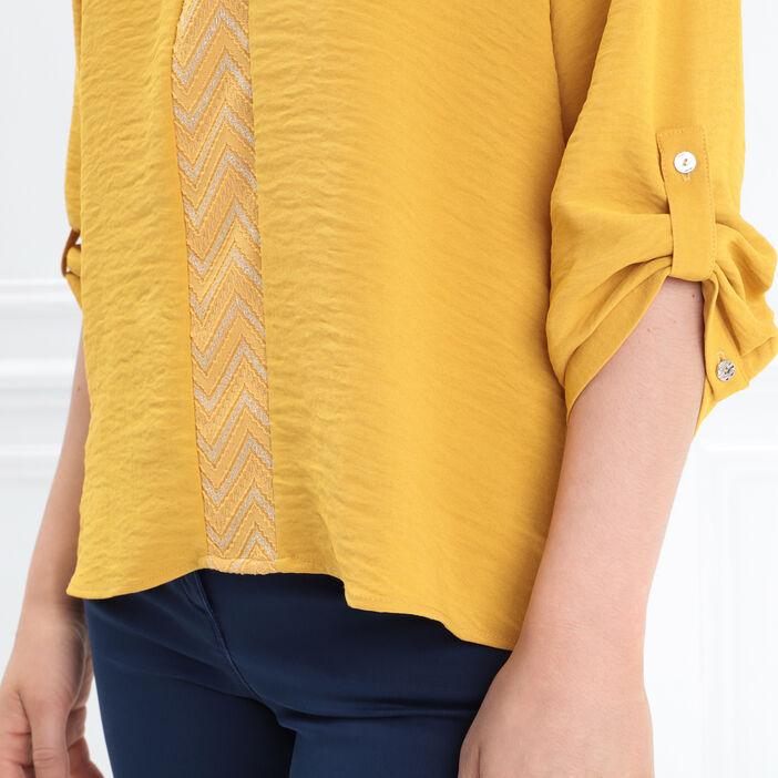Blouse manches 3/4 boutonnées jaune moutarde femme