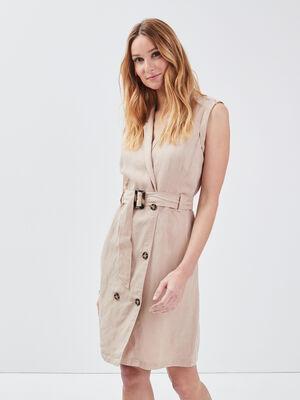 Robe portefeuille ceinturee beige femme