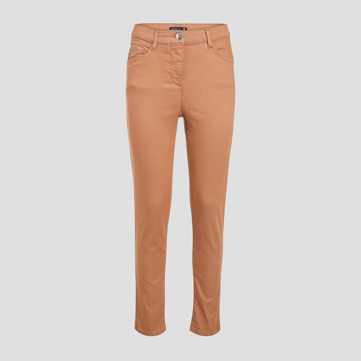 Pantalon léger toucher doux marron clair femme