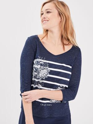 T shirt manches 34 bleu fonce femme