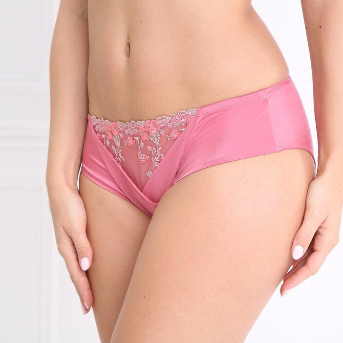 Culotte taille haute brodée rose femme