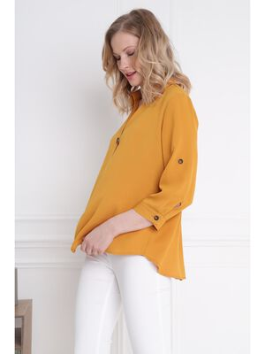 Blouse manches 34 boutonnees jaune or femme