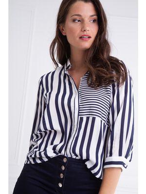 Chemise coupe droite rayures bleu fonce femme