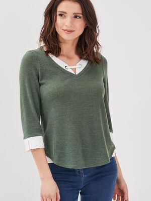 T shirt manches 34 2 en 1 vert kaki femme