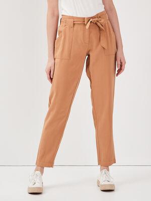 Pantalon flou taille haute marron clair femme