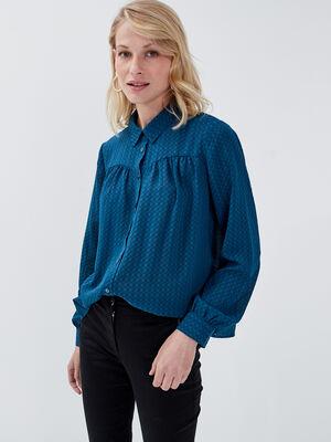 Chemise manches longues evasee bleu canard femme
