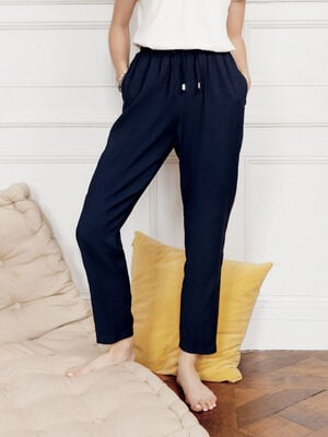 Pantalon flou taille standard bleu fonce femme