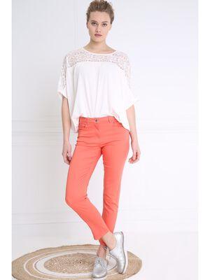 Pantalon 78 satin orange corail femme