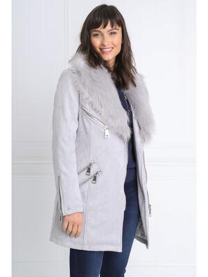 Manteau droit fausse fourrure gris fonce femme