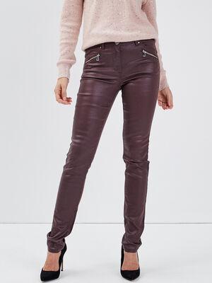 Pantalon ajuste details zippes marron femme