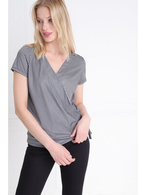 T shirt manches courtes noue ecru femme