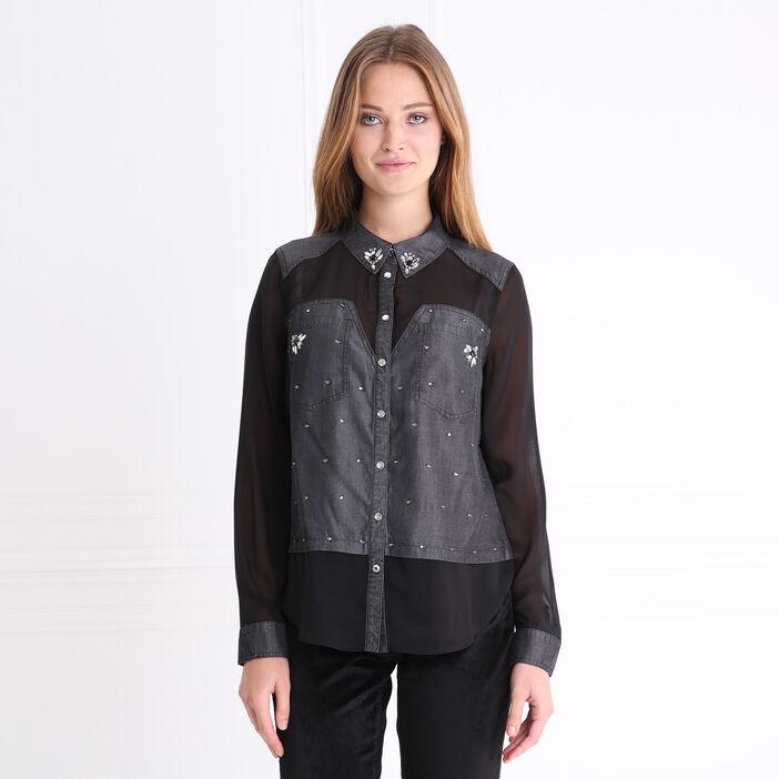 Chemise bimatière avec strass noir femme