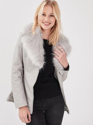 Manteau cintre fausse fourrure gris fonce femme