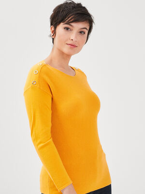 Pull manches longues jaune or femme