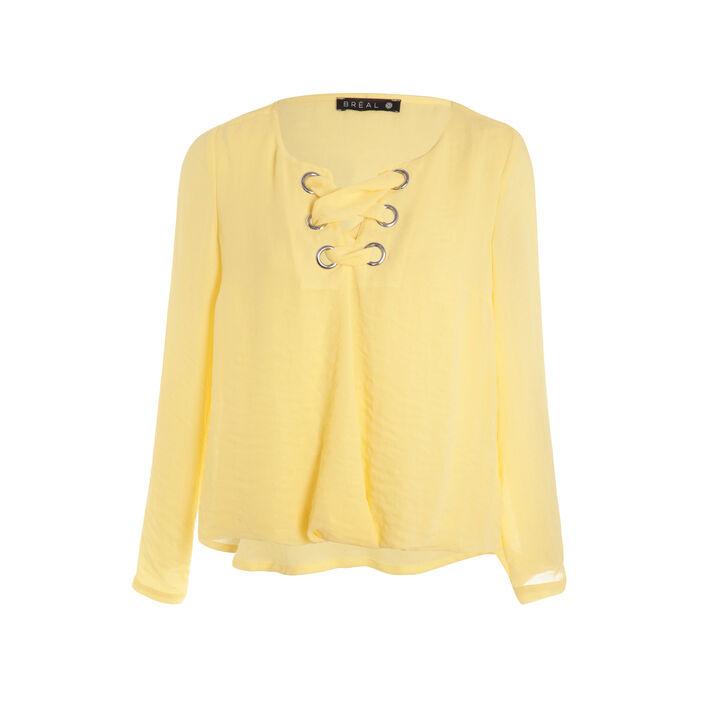 Chemise avec maxi oeillets jaune pastel femme