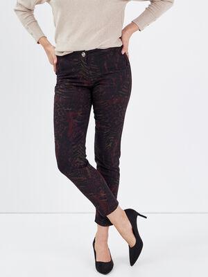 Pantalon chino ajuste bordeaux femme