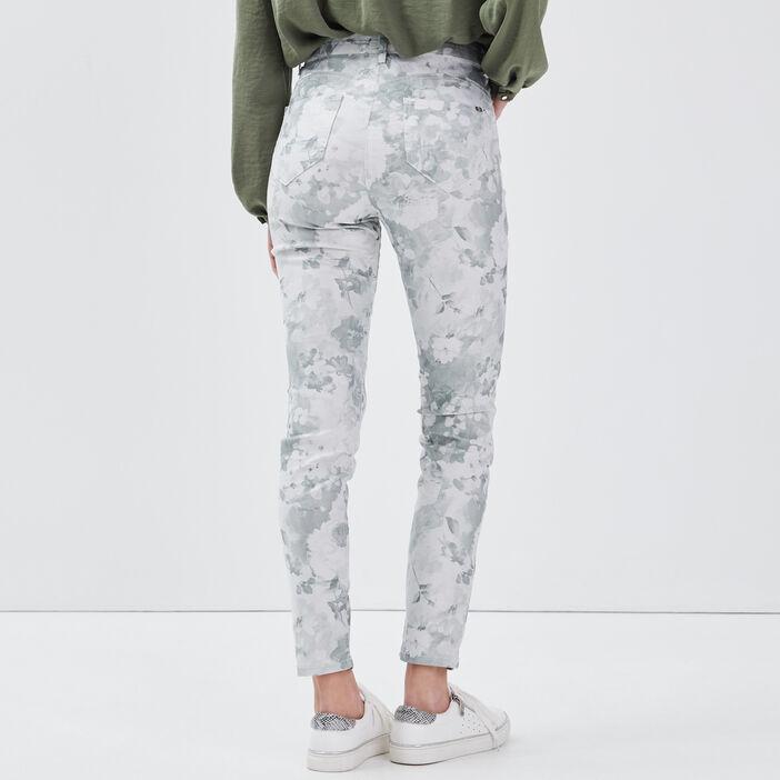 Pantalon léger imprimé vert clair femme