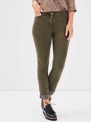 Pantalon ajuste 78eme vert kaki femme