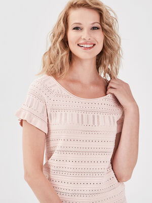 Pull manches courtes rose poudree femme