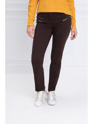 Pantalon ajuste zips marron fonce femme
