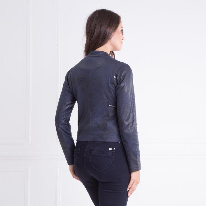Veste coupe cintrée façon cuir bleu foncé femme