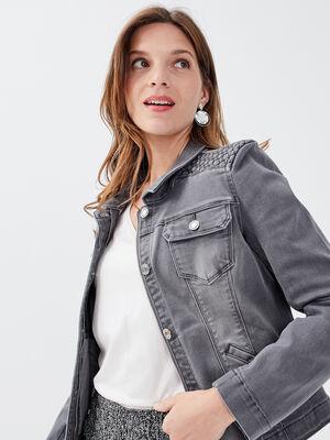 Veste droite boutonnee en jean denim gris femme
