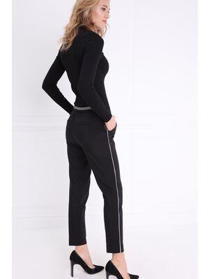 Pantalon taille basculee noir femme