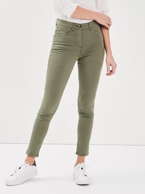 Pantalon leger toucher doux vert kaki femme