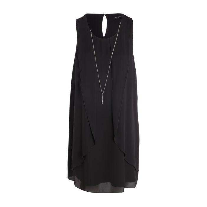 Robe sans manches à pans détail bijou noir femme