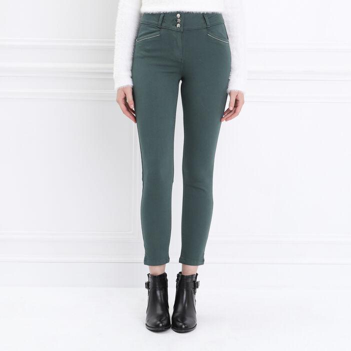 Pantalon ajusté taille haute vert canard femme