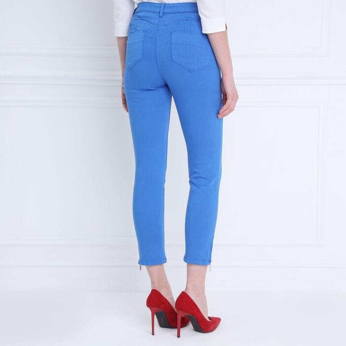 Pantalon ajusté taille haute bleu femme