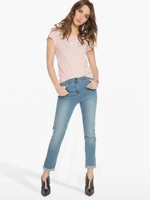 Jeans ajuste taille basculee denim double stone femme