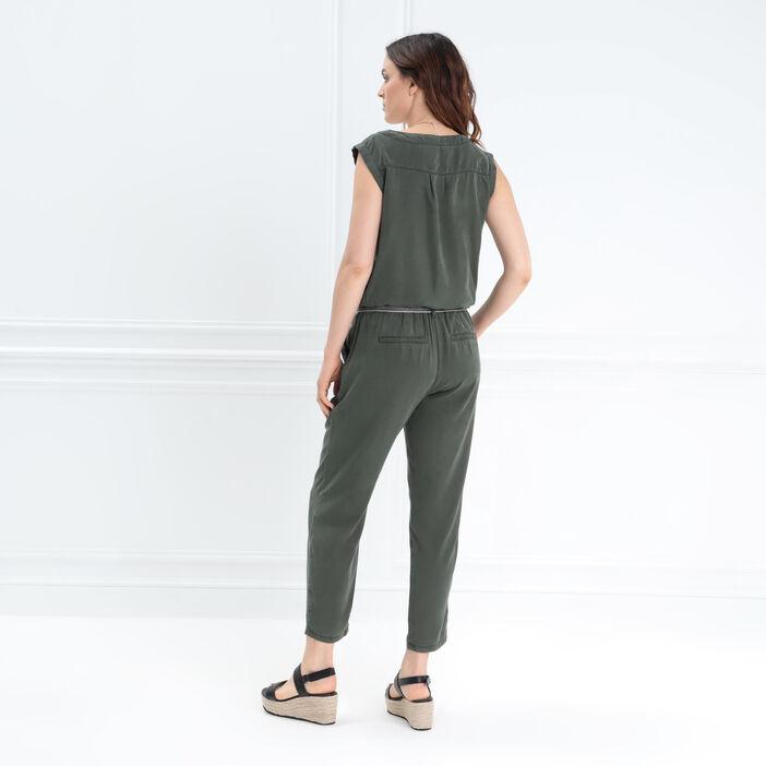 Combinaison pantalon ceinture vert kaki femme