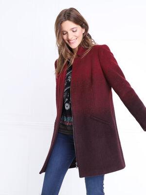 Manteau en laine zipe milieu devant rouge femme