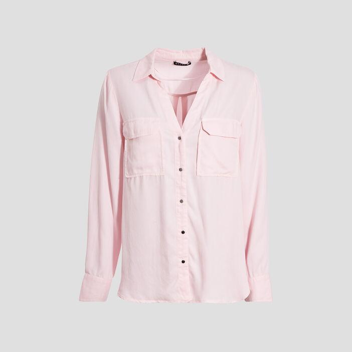 Chemise manches longues rose pastel femme