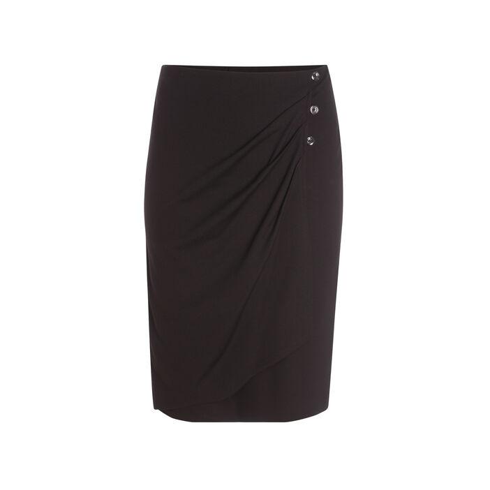 Jupe ajustée effet drapé noir femme