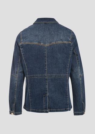 Veste droite boutonnee en jean denim stone femme